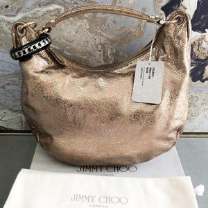 Jimmy Choo Solar Bracelet Gold Leather Hobo